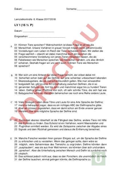 Arbeitsblatt: LV Delfine - Deutsch - Textverständnis