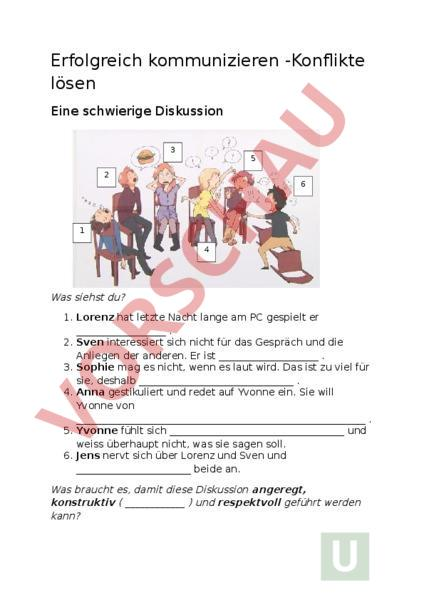 Arbeitsblatt: Kommunikation-Konflikte lösen - Lebenskunde ...
