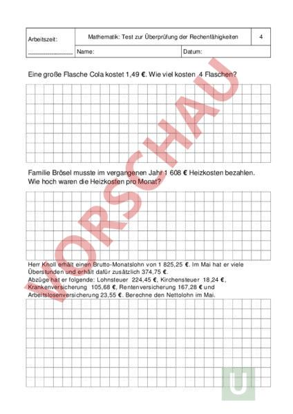 Arbeitsblatt: Mathematik - Mathematik - Sachrechnen / Grössen