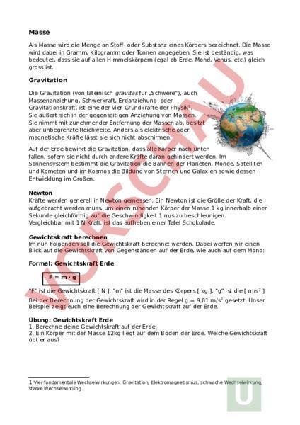 Arbeitsblatt: Erdanziehung - Physik - Gemischte Themen