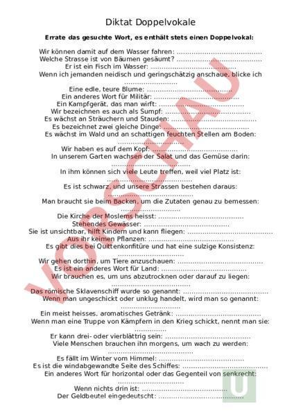 Arbeitsblatt Wörter Mit Doppelvokalen Mit Lösungen Deutsch