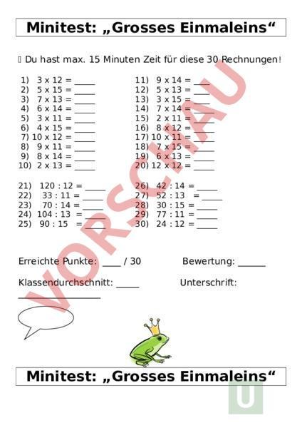 Arbeitsblatt Minitest Grosses Einmaleins Mathematik