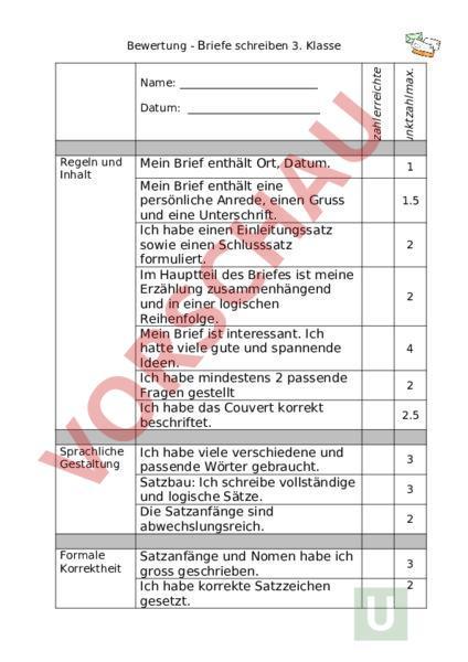 Arbeitsblatt Bewertung Briefe Schreiben 3 Klasse Französisch
