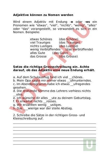 Arbeitsblatt Adjektive Zu Nomen Deutsch Rechtschreibung