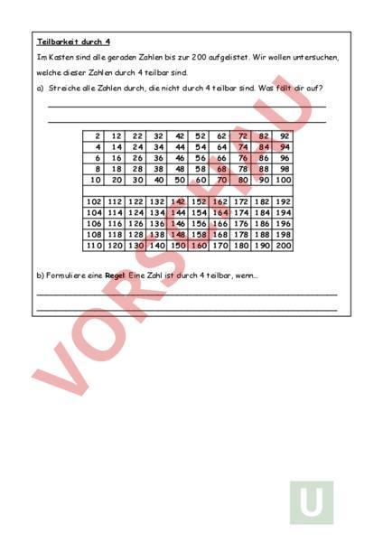 Arbeitsblatt Teilbarkeitsregeln Mathematik Division