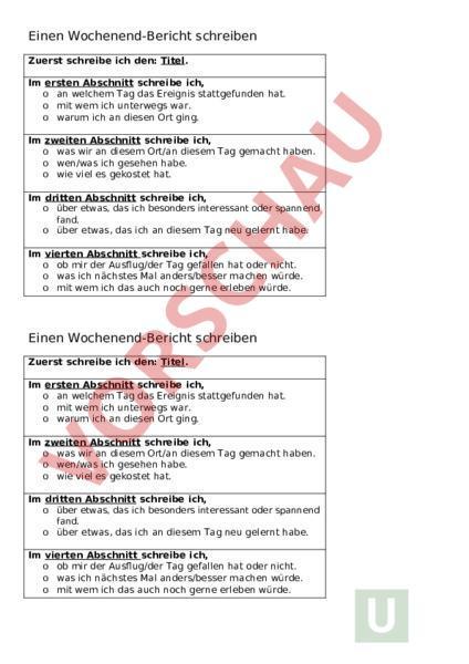 Arbeitsblatt Berichte Schreiben Deutsch Texte Schreiben