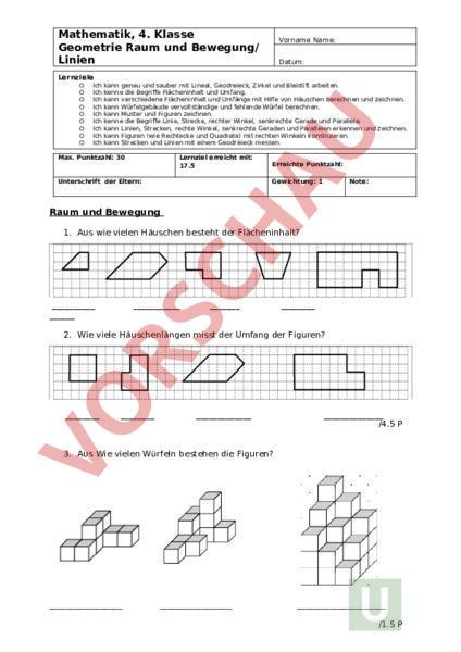 Arbeitsblatt Prüfung Raum Und Bewegung Geometrie
