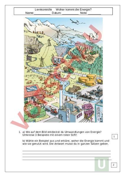 Arbeitsblatt Lernkontrolle Energie Physik Gemischte Themen