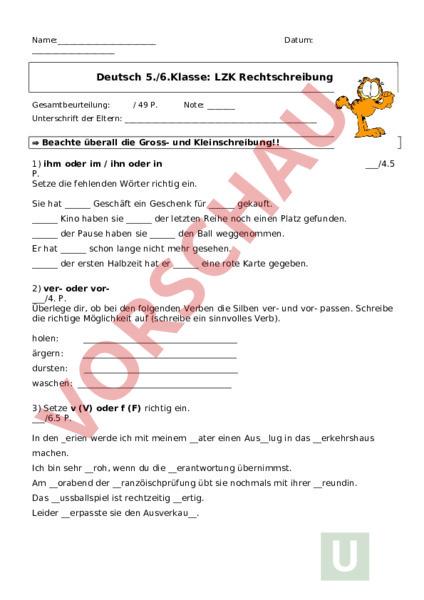 Arbeitsblatt Lzk Rechtschreibung Deutsch Rechtschreibung
